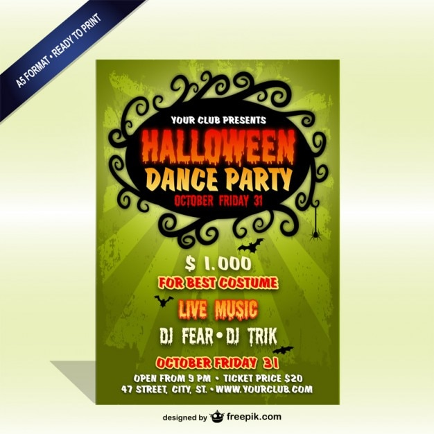 Vintage Halloween party poster template