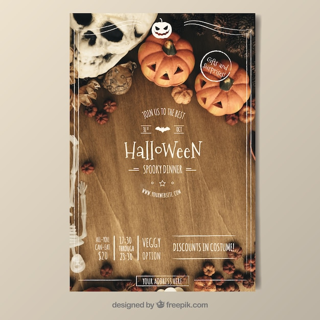 Vintage halloween party poster Free Vector