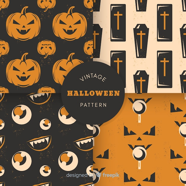 Vintage halloween pattern collection Free Vector