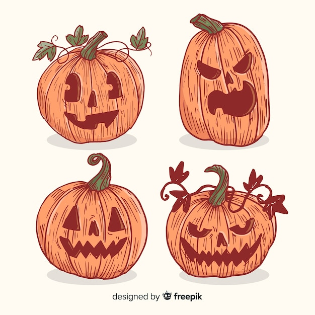 Vintage halloween pumpkin collection Free Vector