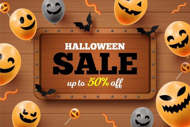 Vintage halloween sale Free Vector