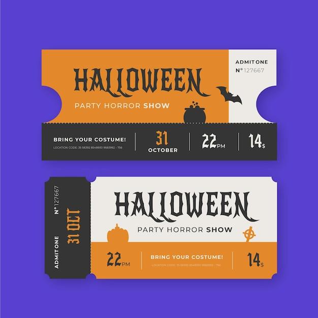Set di biglietti di halloween vintage Vettore gratuito