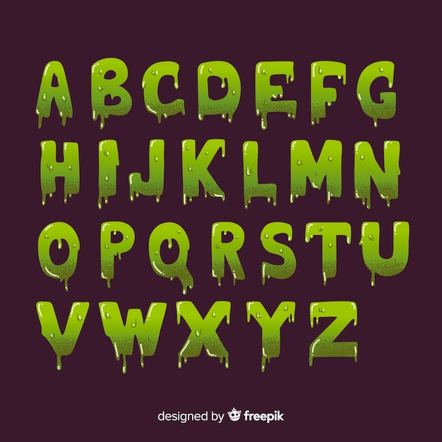 Vintage halloween with slime alphabet Free Vector