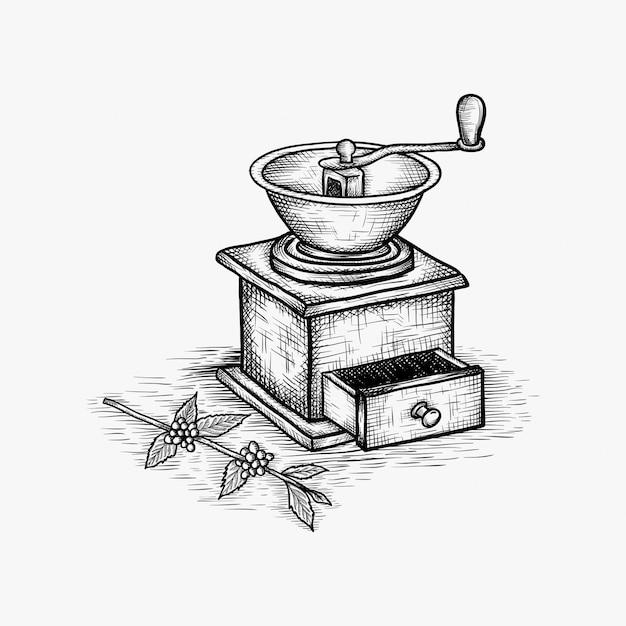 Vintage hand drawn coffee grinder vector illustration Premium Vector
