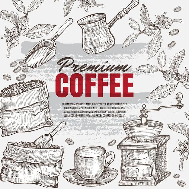 ビンテージ手描きコーヒーイラスト。隔離されたアートワークオブジェクト。どのレストランやカフェメニューの印刷媒体にも適しています。 Premiumベクター