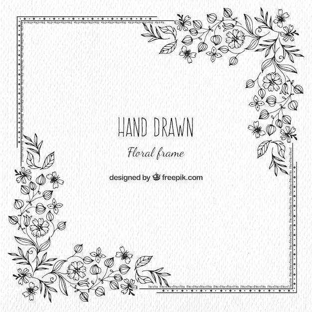 Vintage Hand Drawn Floral Frame Free Vector