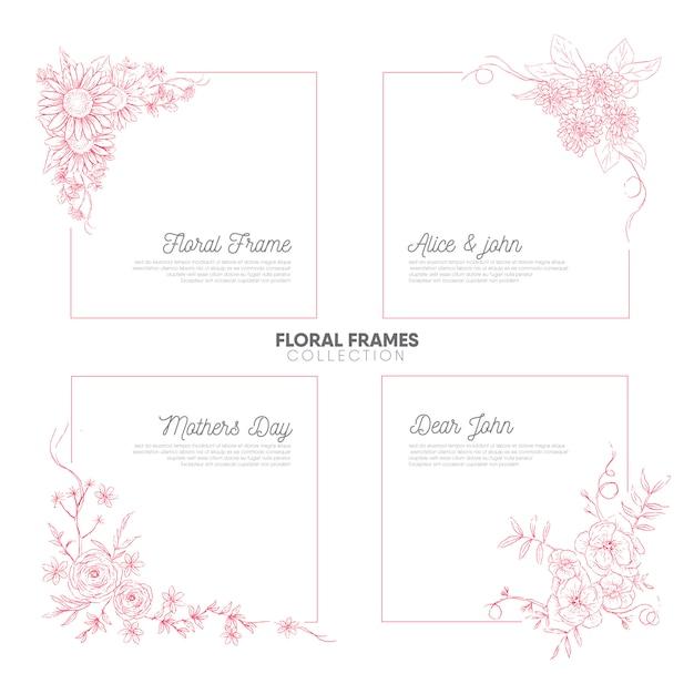 Vintage hand drawn floral frames collection Premium Vector