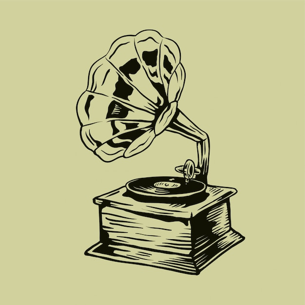 premium vector vintage hand drawn gramophone vector https www freepik com profile preagreement getstarted 2910633