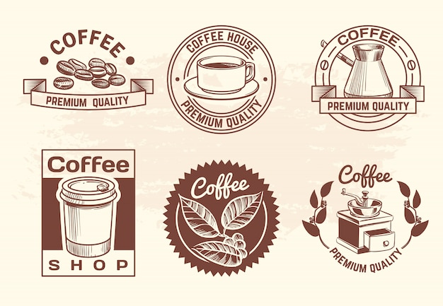 Vintage hand drawn hot drinks coffee logo set with mug and beans Premium Vector