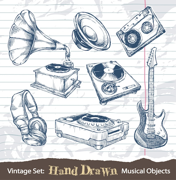 vintage hand drawn musical objects Free Vector