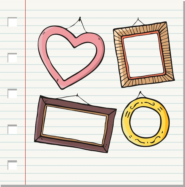 Vintage hand drawn photo frame collection Premium Vector