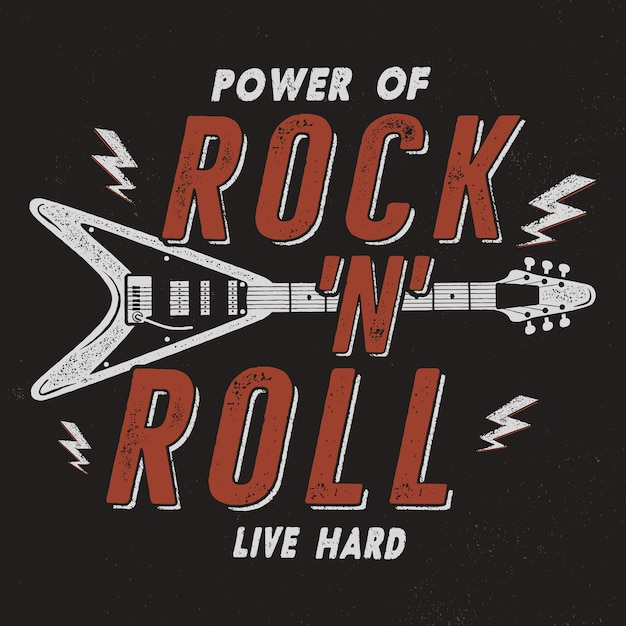 Vintage hand drawn rock n roll poster Premium Vector