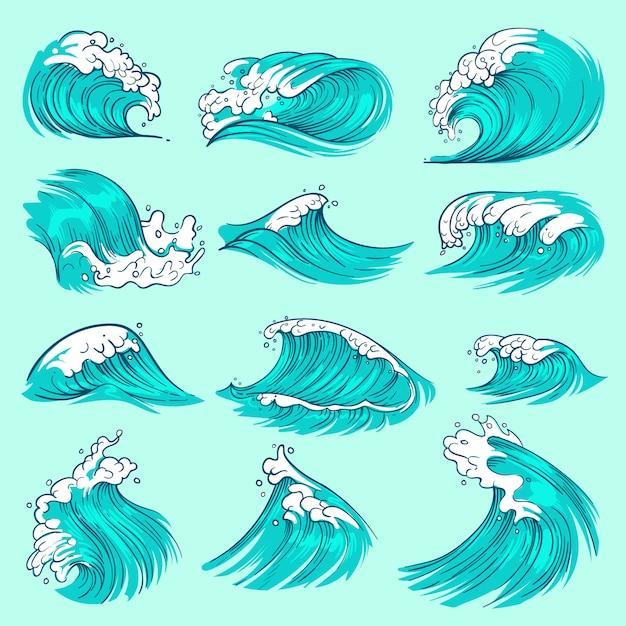 Vintage hand drawn sea blue waves with splashes Premium Vector
