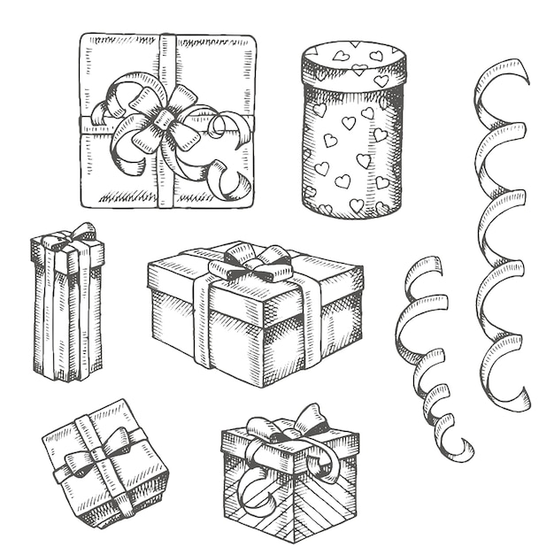 Vintage hand drawn set of doodle gifts box and packages isolated on white Premium Vector