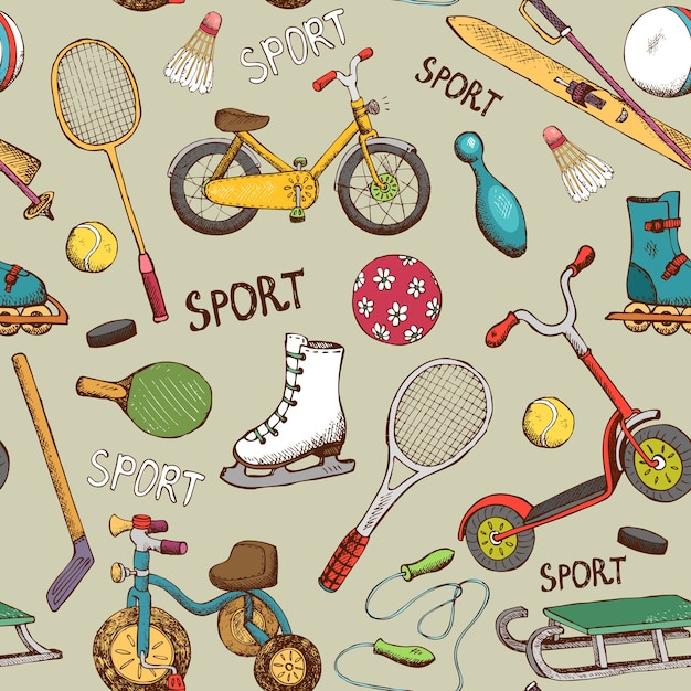 Vintage hand drawn sports and action games seamless pattern Free Vector
