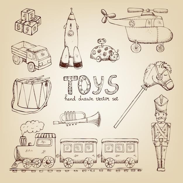 ヴィンテージ手描きおもちゃセット:電車ドラム兵士トランペット 無料ベクター