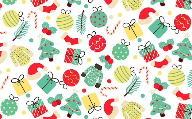 Vintage handdrawn seamless pattern with christmas elements Free Vector