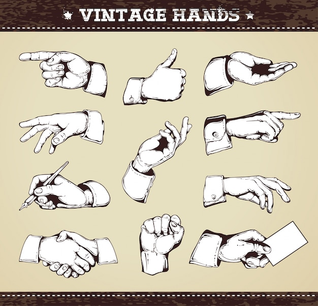 vintage hands collection Free Vector