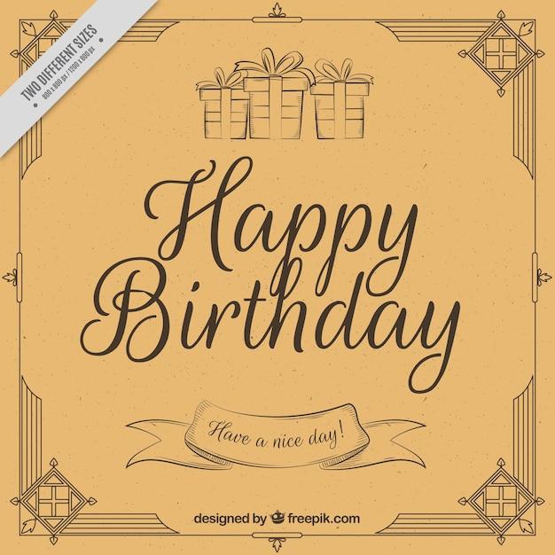 Download Vector Vintage Happy Birthday Postcard Vectorpicker