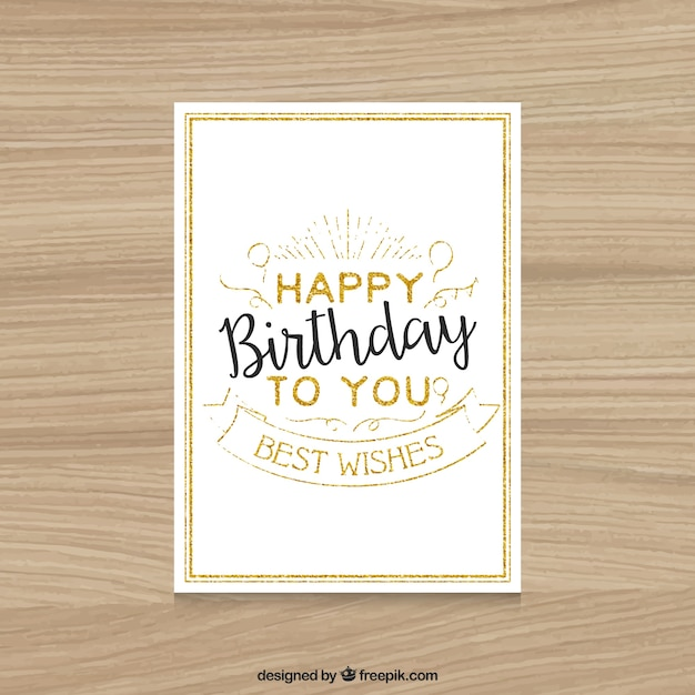 Vintage Happy Birthday Card Vector Free Download