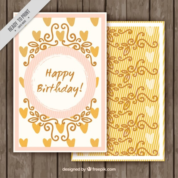 vintage happy birthday card vector  free download, Birthday card