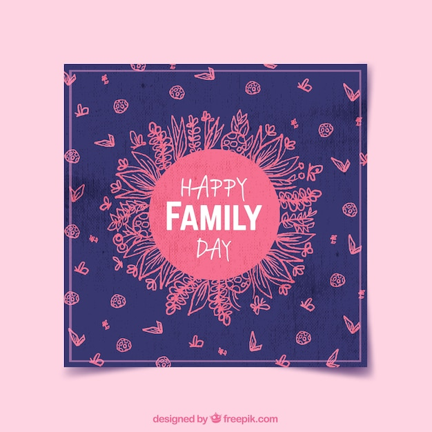 Vintage happy family day card with\ sketches