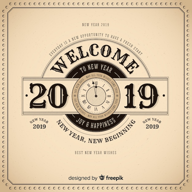 Vintage happy new year 2019 background Free Vector