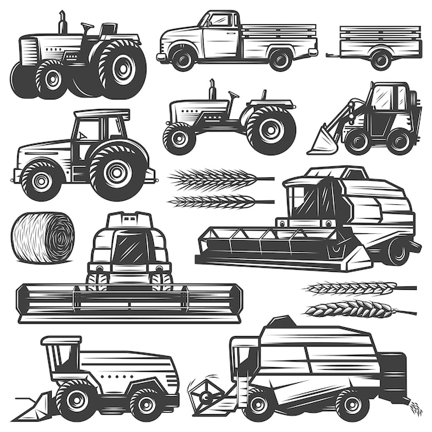 Vintage harvesting transport collection with truck tractors loader combines harvesters hay bale wheat ears isolated Free Vector