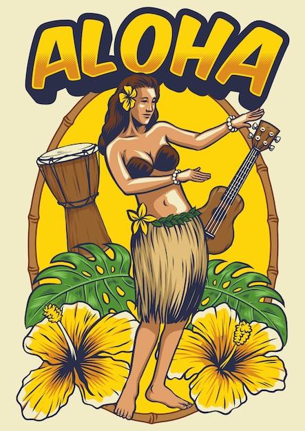 Vintage hawaiian dancing girl Premium Vector