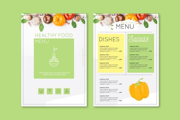 Шаблон меню винтаж здоровой пищи Premium векторы