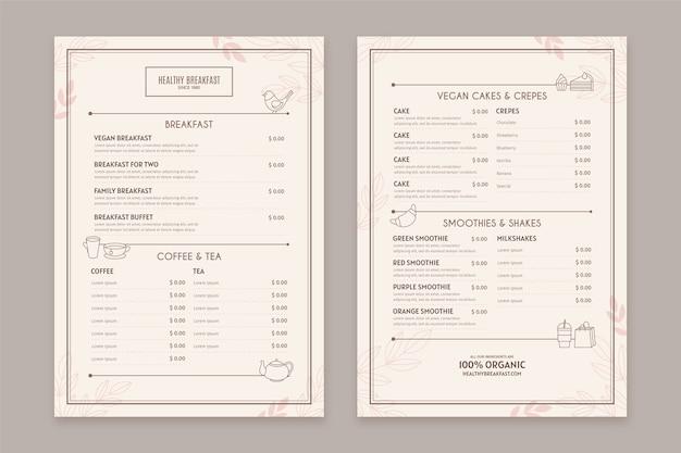 Vintage healthy food restaurant menu template Premium Vector