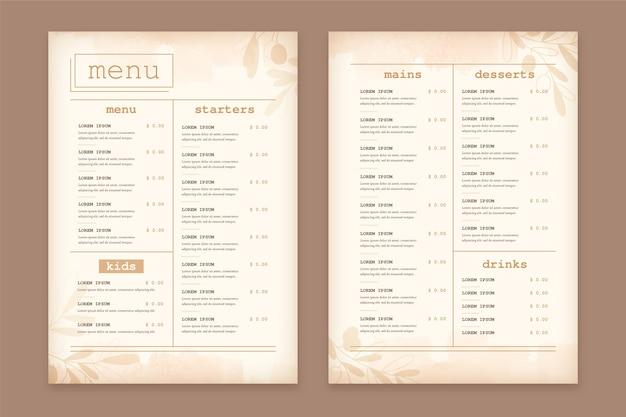 Шаблон меню ресторана винтаж здоровое питание Бесплатные векторы