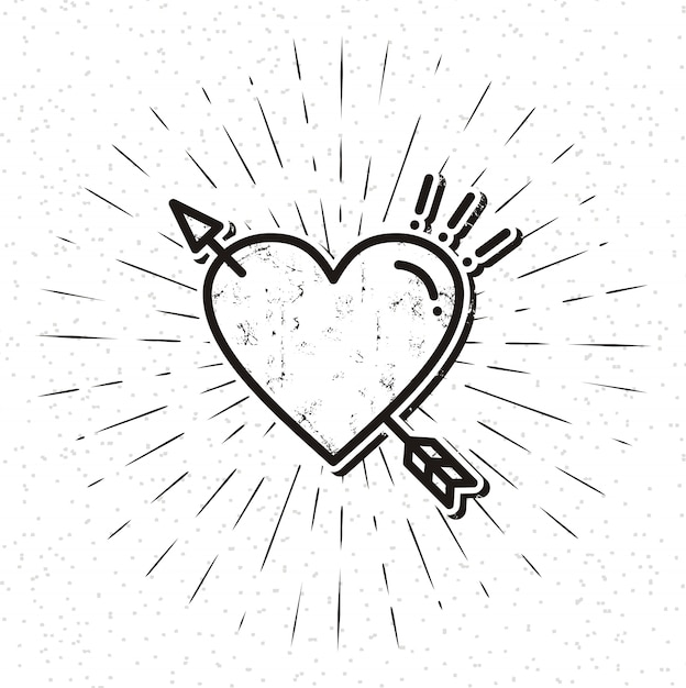 Vintage heart icon with sunburst Premium Vector