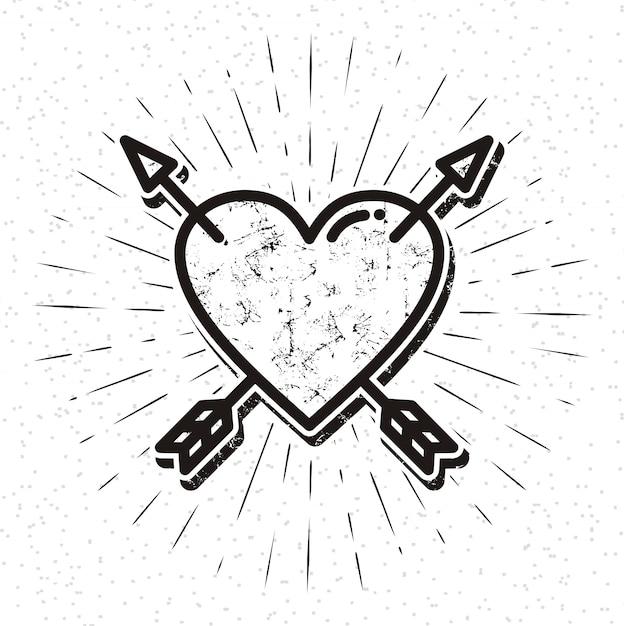 Vintage heart icon with sunburst Premium Vector