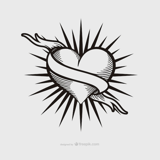 Vintage heart tattoo design Vector | Free Download