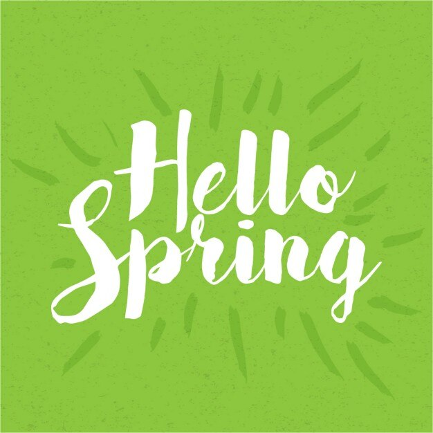 Vintage hello spring lettering Free Vector