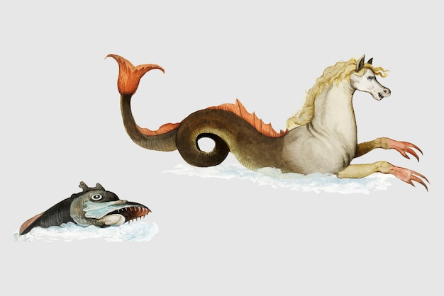 Vintage hippocampus and fish illustration vector Free Vector