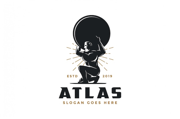 Vintage hipster atlas god logo icon Premium Vector