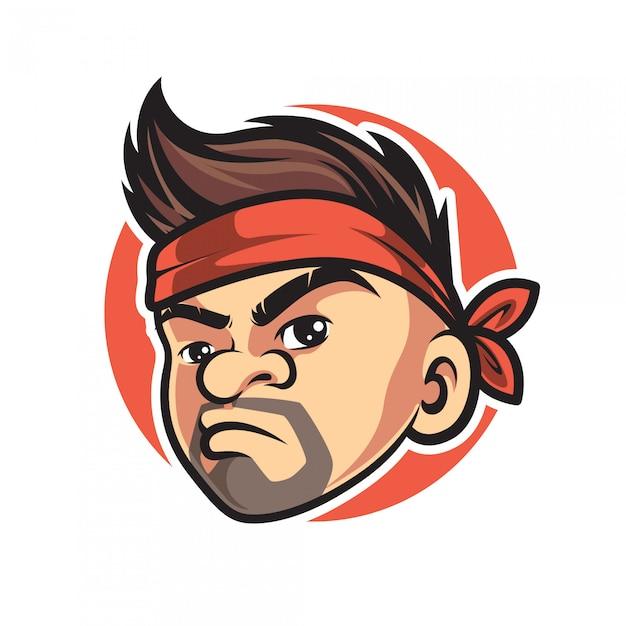Vintage hipster man mascot logo Premium Vector