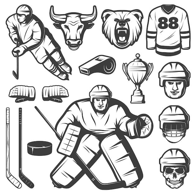Набор старинных хоккейных элементов Бесплатные векторы