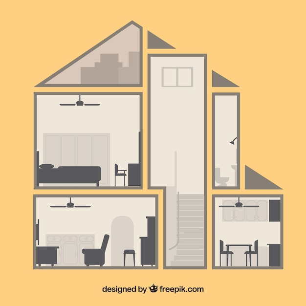 Vintage home interior in flat design vector free download Home decoration vector free
