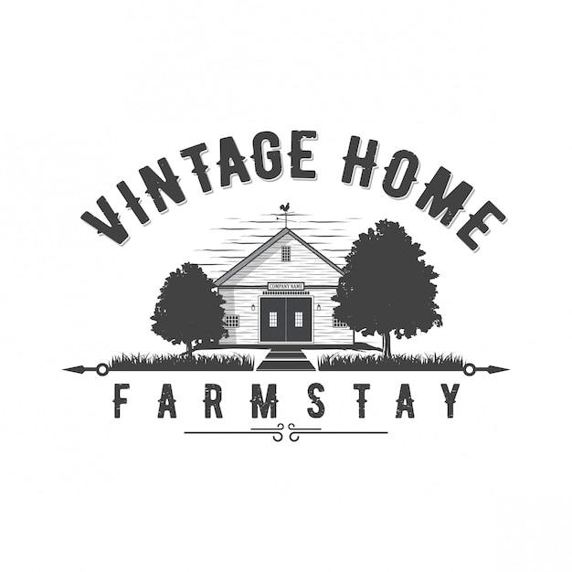 Vintage home logo design Premium Vector