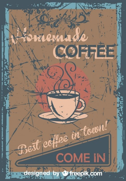 vintage homemade coffee grunge poster vector
