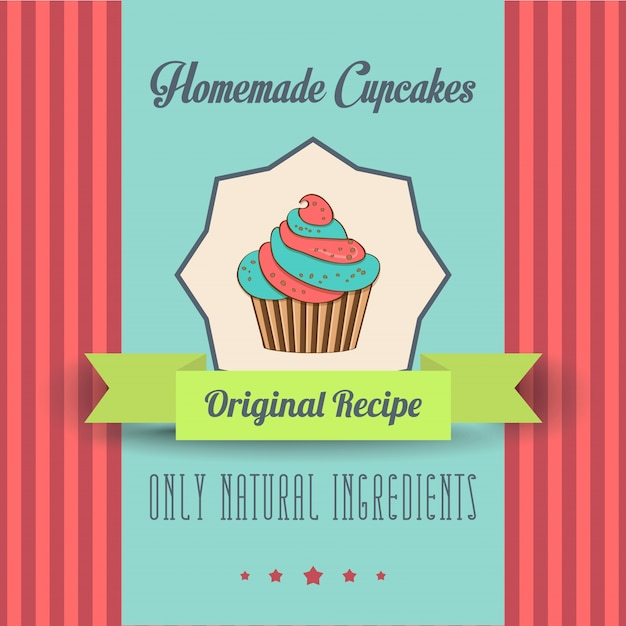 Vintage homemade cupcakes poster Vector | Free Download