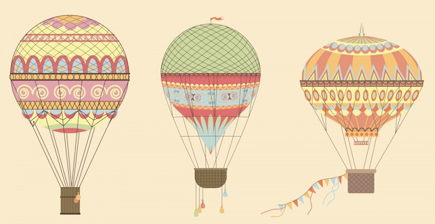 Vintage hot air balloons in sky. Premium Vector