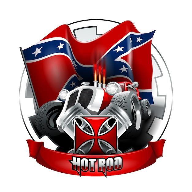 vintage hot rod logo for printing on t shirts or posters vector rh freepik com hot rod logo jackets for men hot rod logo png