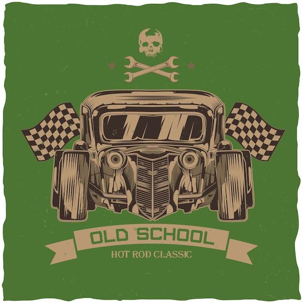 Design t-shirt vintage hot rod con illustrazione di un'auto personalizzata. Vettore gratuito