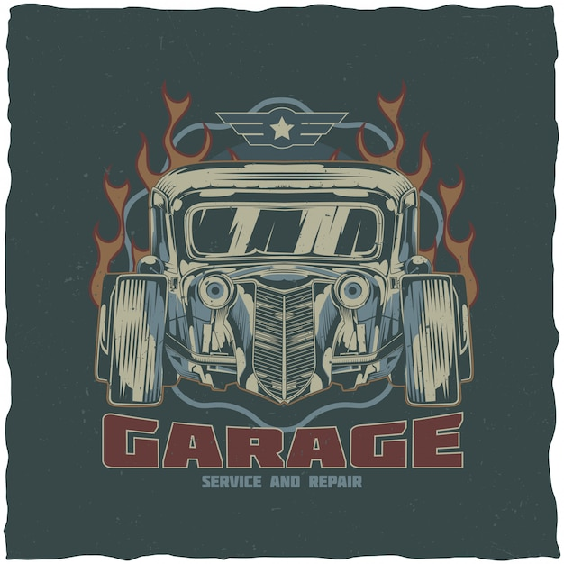 Vintage hot rod t-shirt label design with illustration of custom speed car. hand drawn illustration. Free Vector