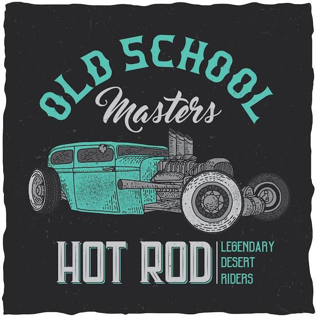 Vintage hot rod t-shirt label design with illustration of custom speed car. hand drawn illustration. Free Vector