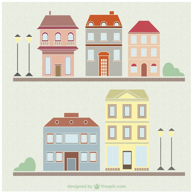 Vintage Houses And Buildings Drawing Set Free Vector